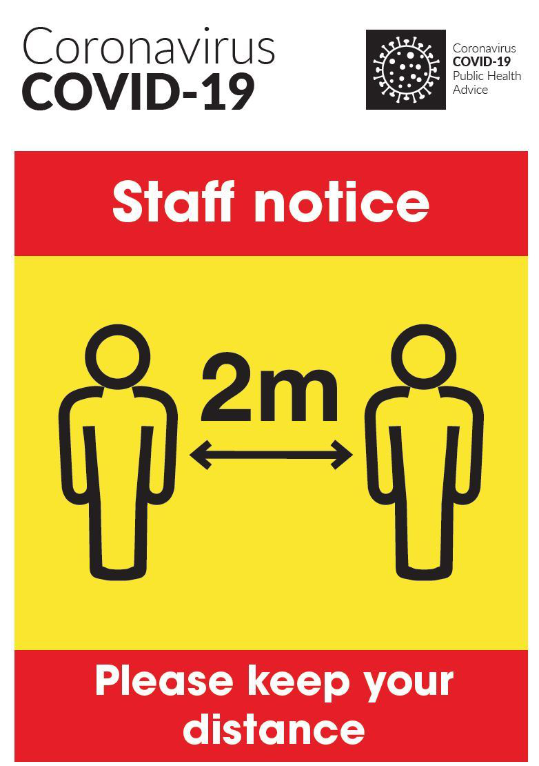 COVID-19 Staff Notice Keep Your Distance Poster