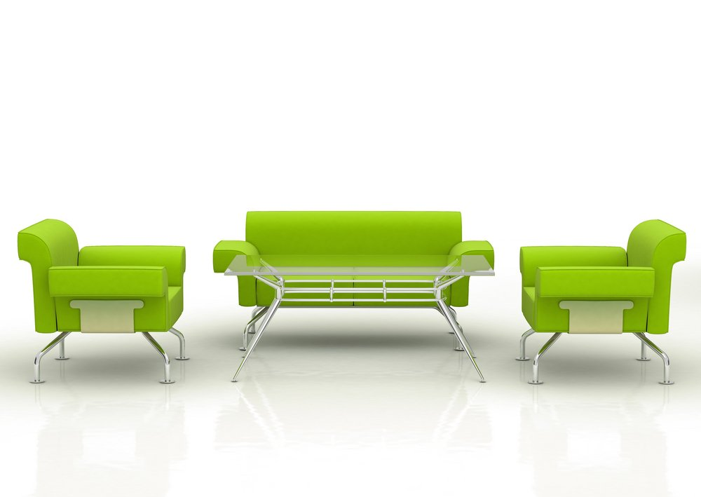 Green office cleaning - sofa and armchairs with table - isolated over a white background